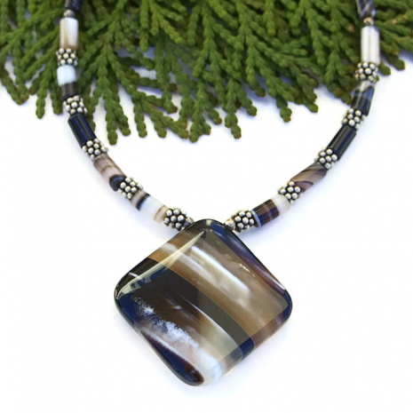 One of a kind banded black agate pendant necklace.