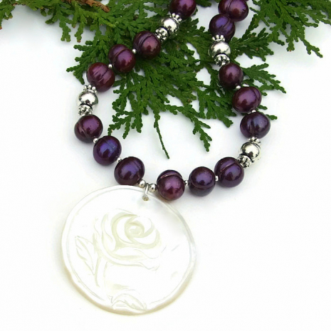 mother of pearl rose pendant necklace with purple pearls