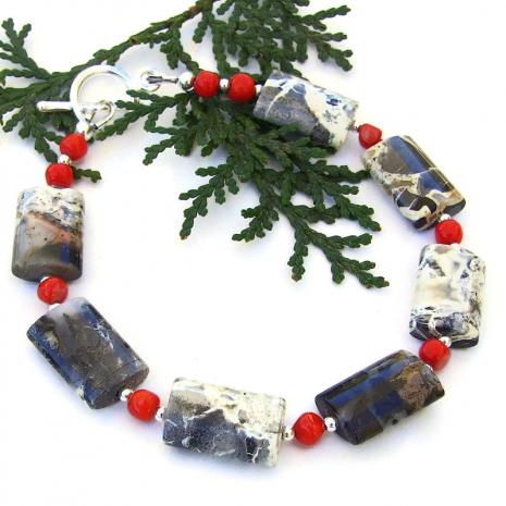 gemstone bracelet gift for her with silver leaf jasper bracelet
