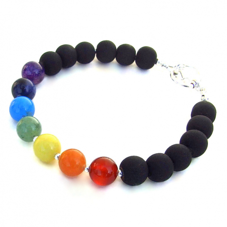 gemstone chakra bracelet matte glass beads gift for her