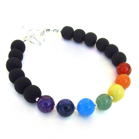 gemstone chakra jewelry matte black glass beads gift for her