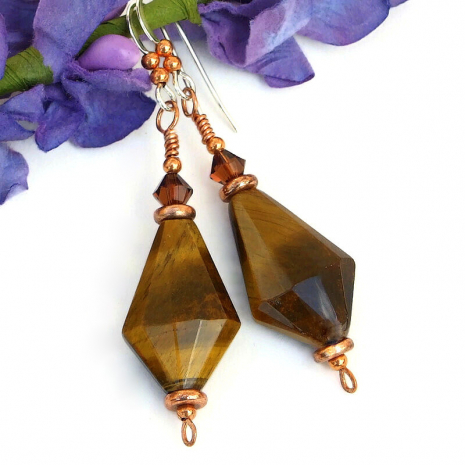 gemstone earrings golden tigers eye copper swarovski crystals