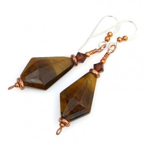 gemstone earrings golden tigers eye crystals