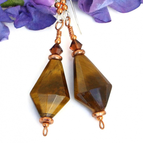 gemstone jewelry golden tigers eye copper swarovski crystals