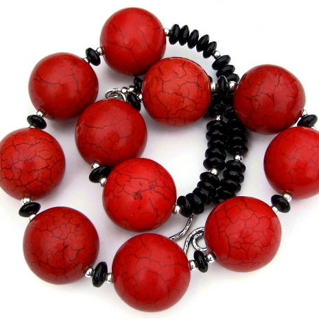 gemstone statement necklace red magnesite black onyx