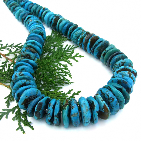 genuine chunky blue turquoise necklace sterling silver handmade