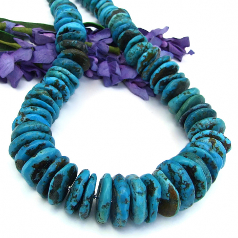 genuine chunky turquoise disc jewelry sterling silver