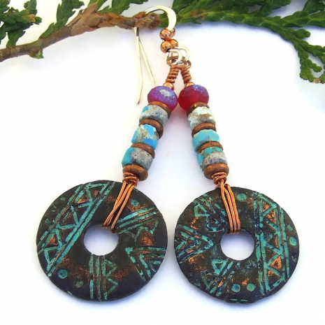 geometric tribal mykonos disc jewelry with vintage turquoise heishe