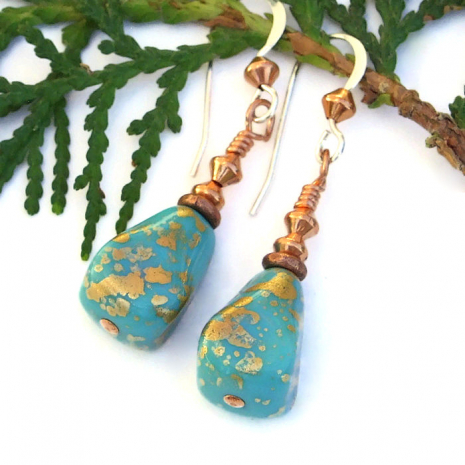 gilded turquoise and copper dangle earrings