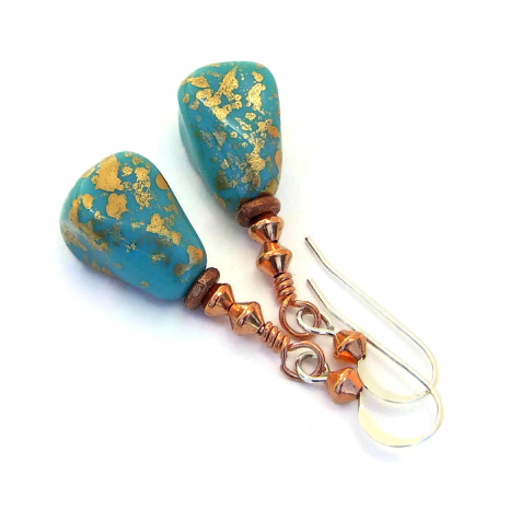 gilded turquoise and copper dangle jewelry