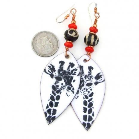 giraffe earrings black white red