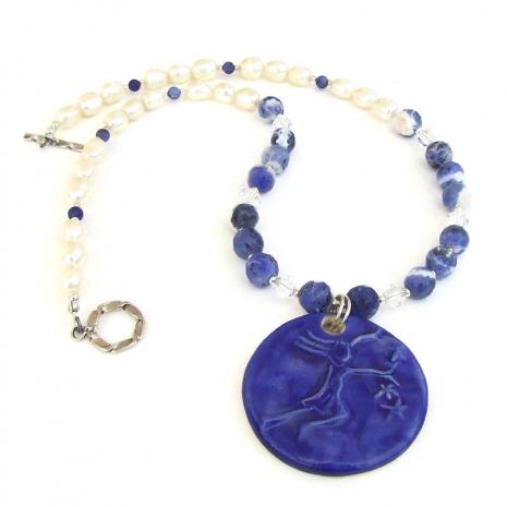 girl stars blue pendant jewelry gift for women