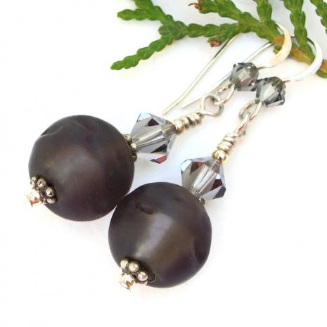 glowing brown dangle jewelry swarovski crystals