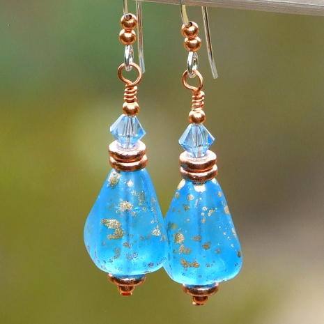 glowing capri caribbean blue pyramid earrings with crystals
