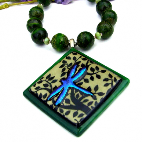 glowing dichroic dragonfly pendant necklace with gemstones
