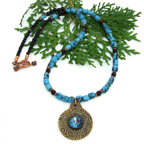 spiral pendant necklace with nepal sherpa glass beads