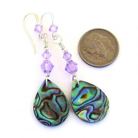 glowing paua shell abalone teardrop earrings lavender swarovski crystals