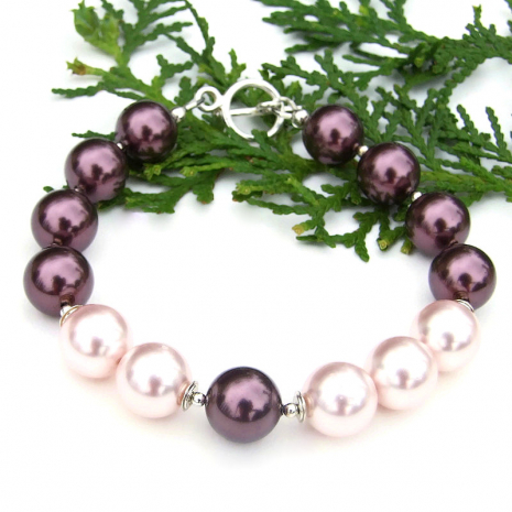 glowing purple and pink swarovski pearl bracelet gift for women