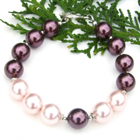 glowing purple and pink swarovski pearl jewelry gift for women
