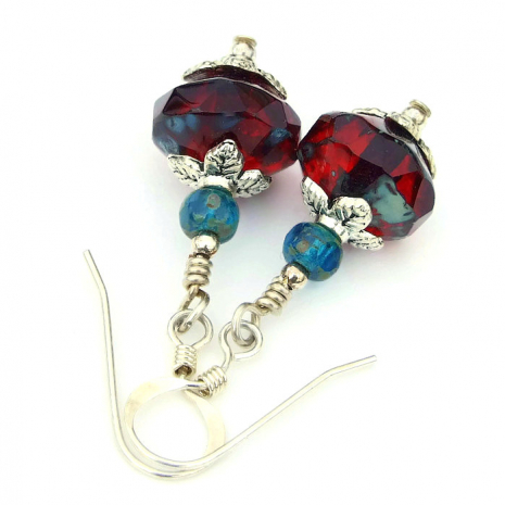 ruby red and teal earrings for her