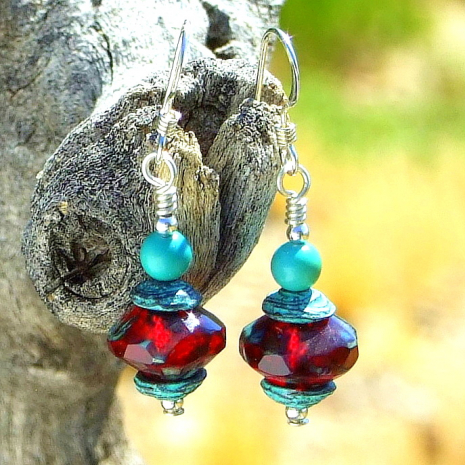 glowing ruby red and turquoise handmade jewelry