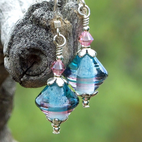 glowing teal and pink lampwork glass jewelry