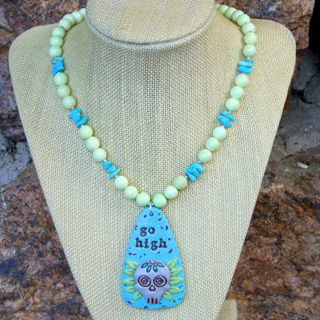 sugar skull necklace with lemon jade and turquoise