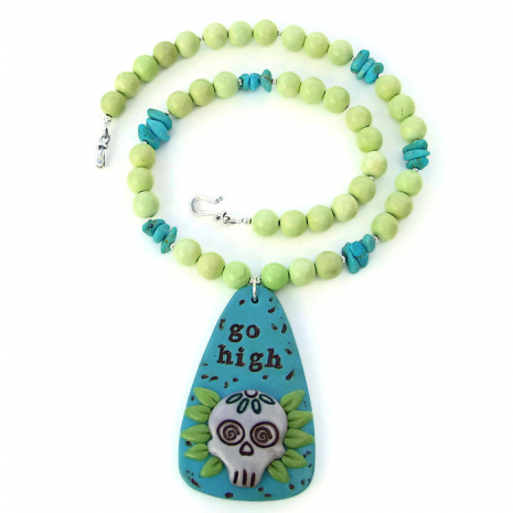 go high sugar skull day of the dead necklace