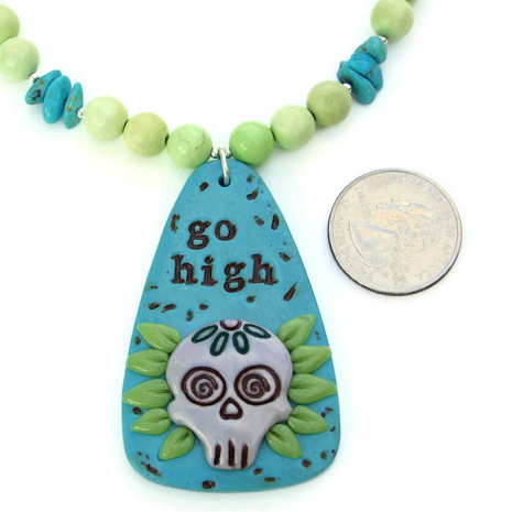 Day of the Dead Halloween sugar skull necklace.