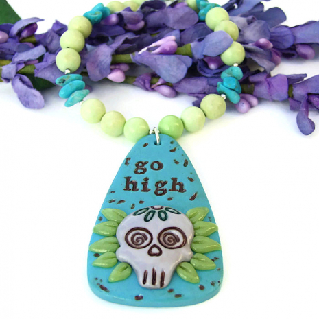 go high sugar skull necklace gift for women