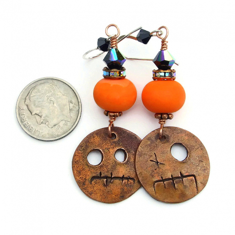 orange and black halloween ghoul jewelry for women.