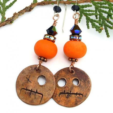 orange and black halloween earrings for her.