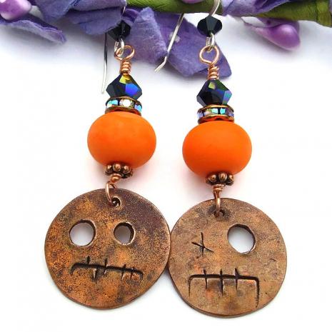 Halloween goblin earrings.