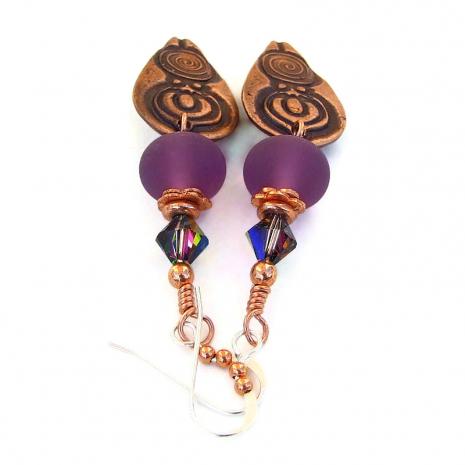 goddess jewelry purple lampwork swarovski crystals