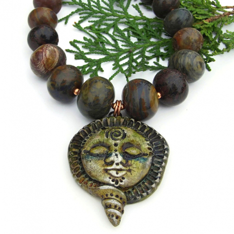 goddess pendant and gemstone necklace gift for her