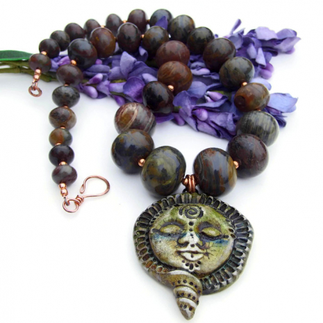 goddess with spiral pendant necklace with gemstones
