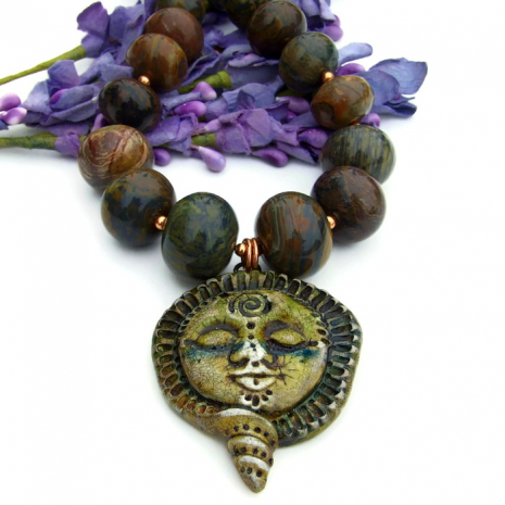 goddess pendant necklace with gemstones