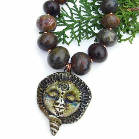 goddess with spiral pendant jewelry with gemstones Mothers Day gift