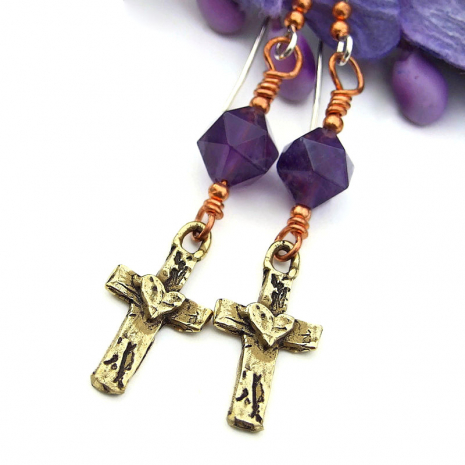 crosses with hearts jewelry gift for her