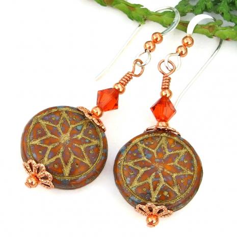 gold washed orange brown ishtar star earrings swarovski crystals copper