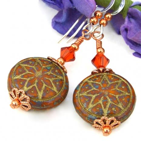 gold washed orange brown ishtar star jewelry swarovski crystals copper