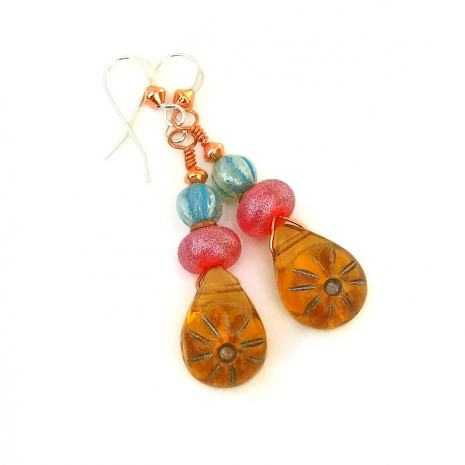 Colorful summer sun earrings for women.