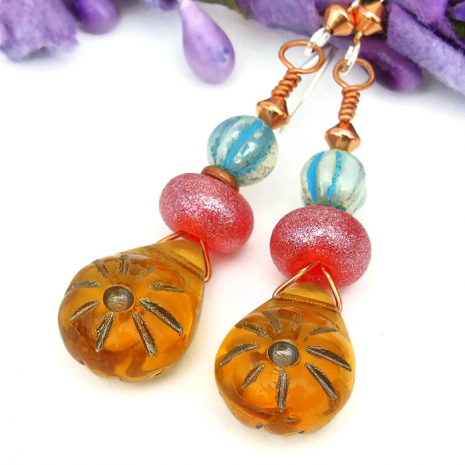 Unique summer sun earrings for her.