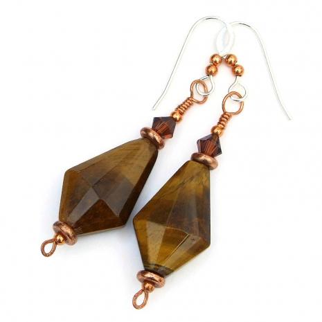 golden tigers eye earrings gift for her
