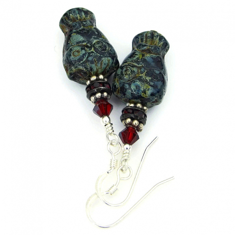 handmade black and red goth owl jewelry
