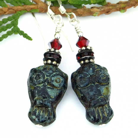 goth owl earrings halloween jewelry for women