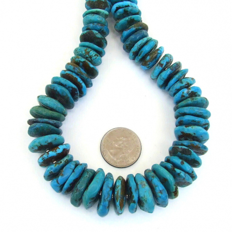 graduated chunky turquoise disc jewelry gift for her