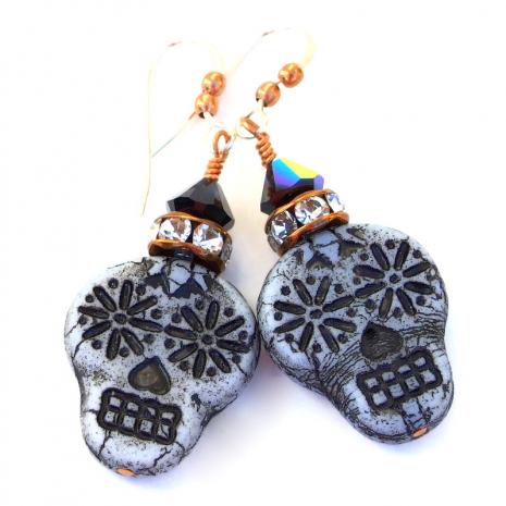 gray black sugar skull earrings gift for her