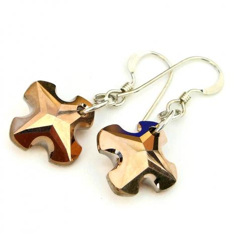 greek cross earrings swarovski crystal gift for her