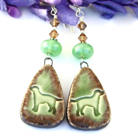 green and brown ceramic dog jewelry with lampwork and crystals